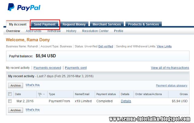 Cara Mudah Mengirim Dollar Paypal ke Sesama Paypal