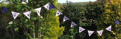 lilac and purple just married wedding bunting