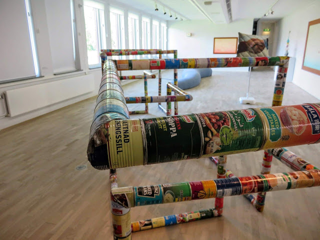 Exhibit made of canned goods inside the Modern Art Museum (Konstmuseum) in Norrköping, Sweden