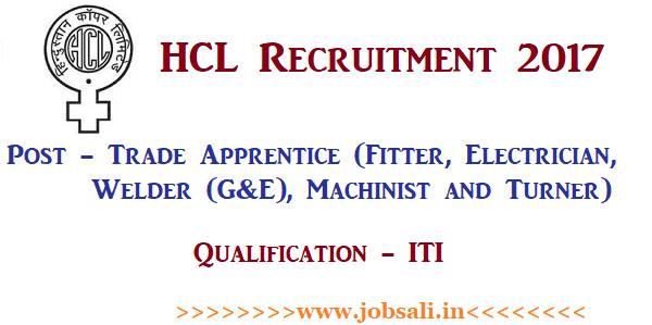 HCL Apprentice Recruitment 2017, HCL apprenticeship jobs, HCL ITI recruitment 2017