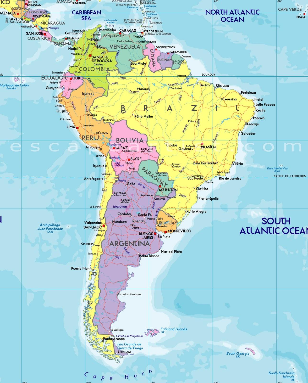 América do Sul | Mapas Geográficos da América do Sul