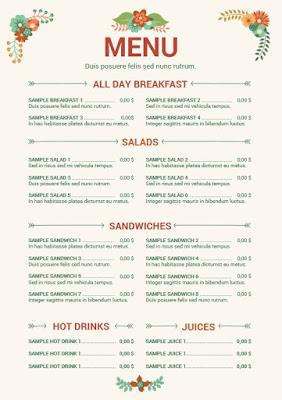 menus para restaurante editable en word