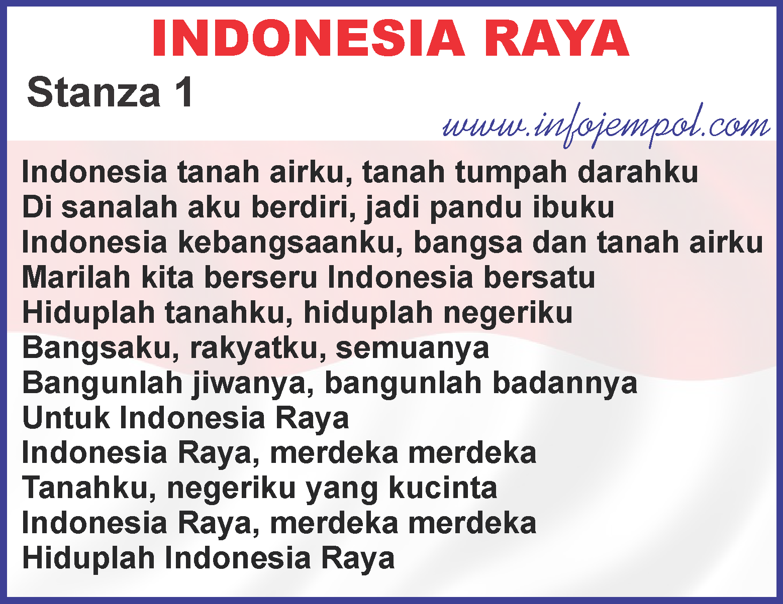 Lirik Lagu Indonesia Raya 3 (tiga) Stanza - Download Mp3 ...