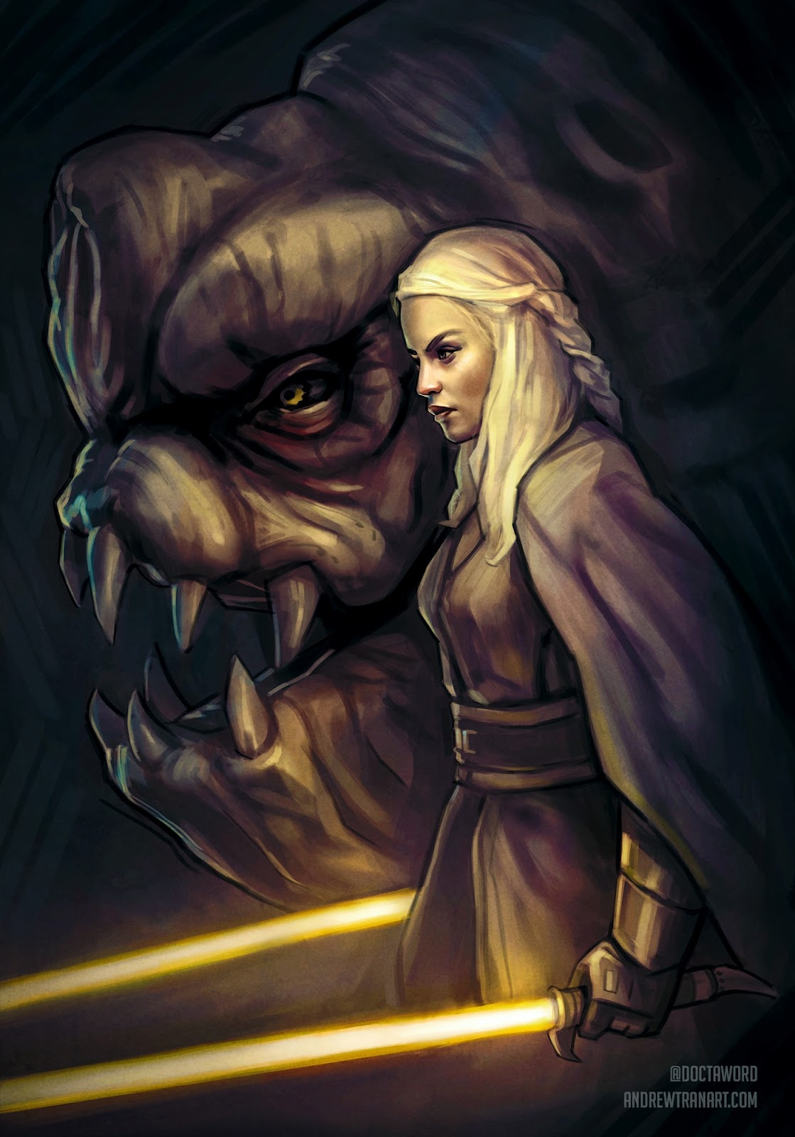 01-Daenerys-Targaryen-Emilia-Clarke-Andrew-D-Tran-Doctaword-Star-Wars-and-Game-of-Thrones-Mashup-www-designstack-co