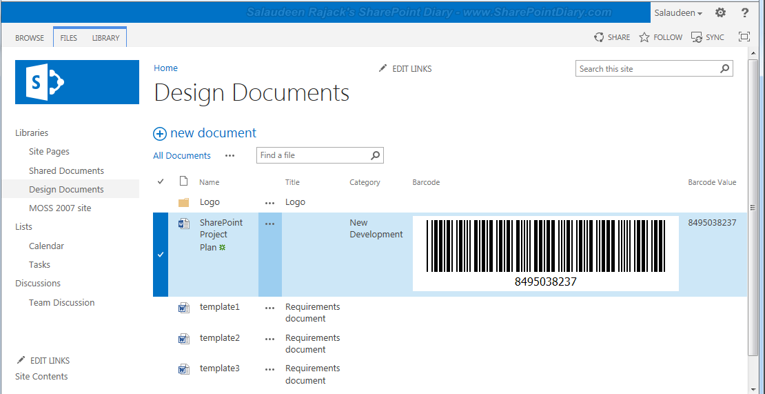 barcode with sharepoint
