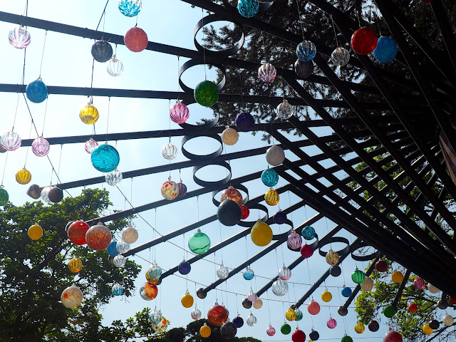Colourful glass baubles on an installation on Namiseom Island, Gapyeong, South Korea