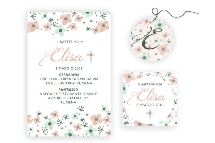 Super Arriva la cicogna: Il kit per battesimo a tema floreale 'Elisa' LB23