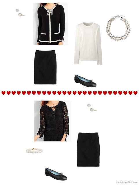two Talbots tops work with a simple black skirt from a travel capsule wardrobe