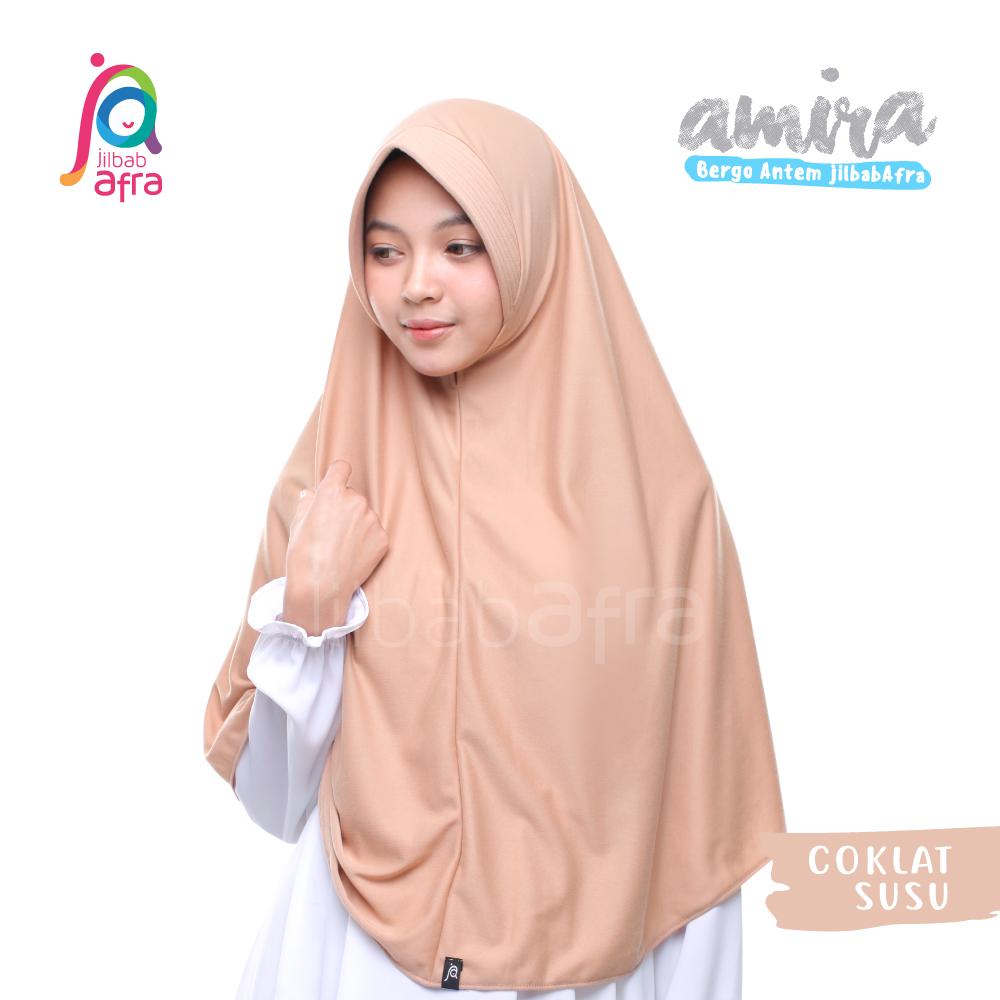 Jilbab Amira Coklat Susu Cocok Dipasangin Dengan Gamis Warna Putih