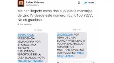 Rafael Cabrera compartió los mensajes a través de sus redes sociales.