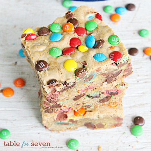 Chocolate Chip M&M's Cookie Bars
