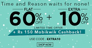 Jabong Clothing, Footwear & Accessories : Flat 60% Off + Extra 10% Off + Extra Rs.150 Mobikwik Cashback