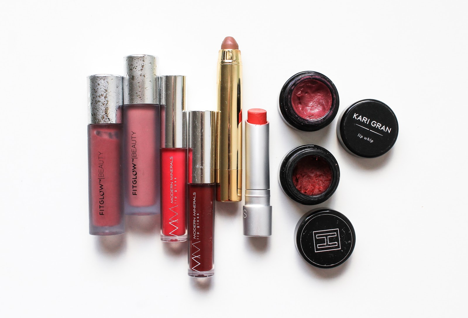 Natural Organic Makeup Lipstick, Lip Gloss, Lip Balm, Fitglow, Modern Minerals, Axiology, RMS Beauty, H is for Love, Kari Gran