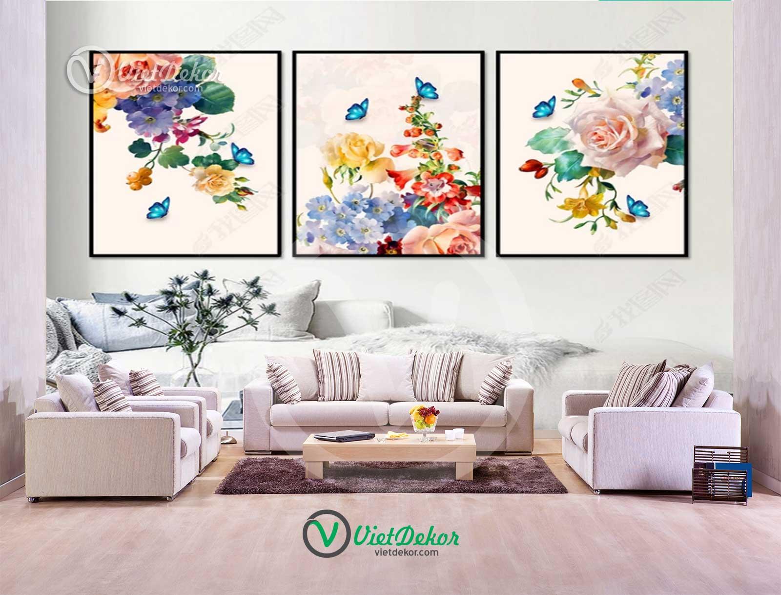 Tranh bộ treo tường hoa và chim trang trí  phòng ngủ phòng khách đẹp