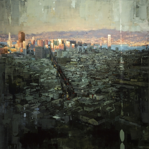16-Last-Light-of-San-Francisco-Jeremy-Mann-Figurative-Painting-in-Cityscapes-Oil-Paintings-www-designstack-co