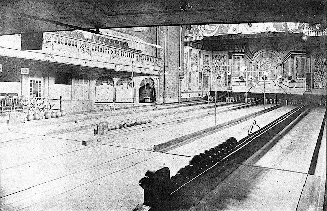an 1895 bowling alley, large photograph