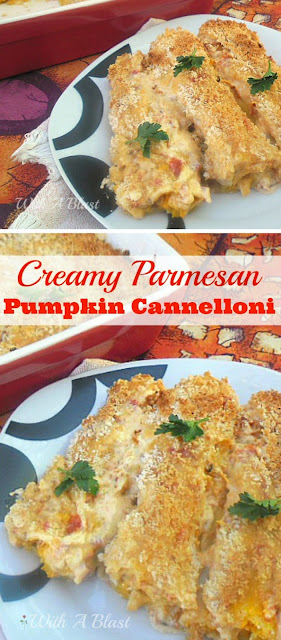 Delicious pumpkin filled cannelloni baked in a creamy tomato sauce & a crunchy topping #MeatlessDish #SideDish #PumpkinRecipe #Cannelloni