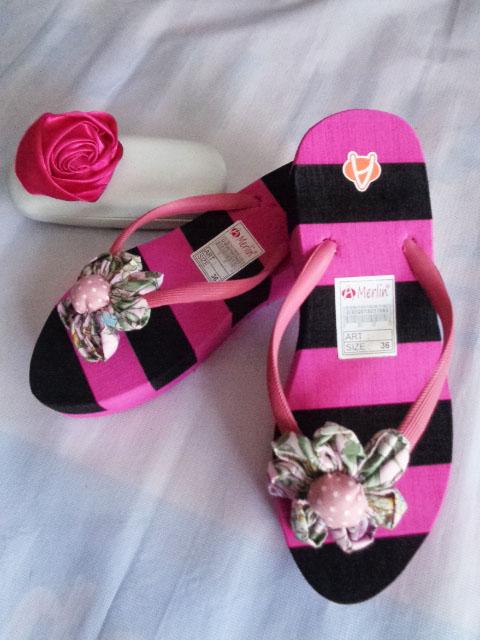 Sandal Merlin ASLI Spon Tebal Blaster pink hitam