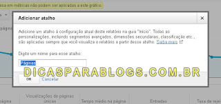 Configurar menu de atalhos no Analytics