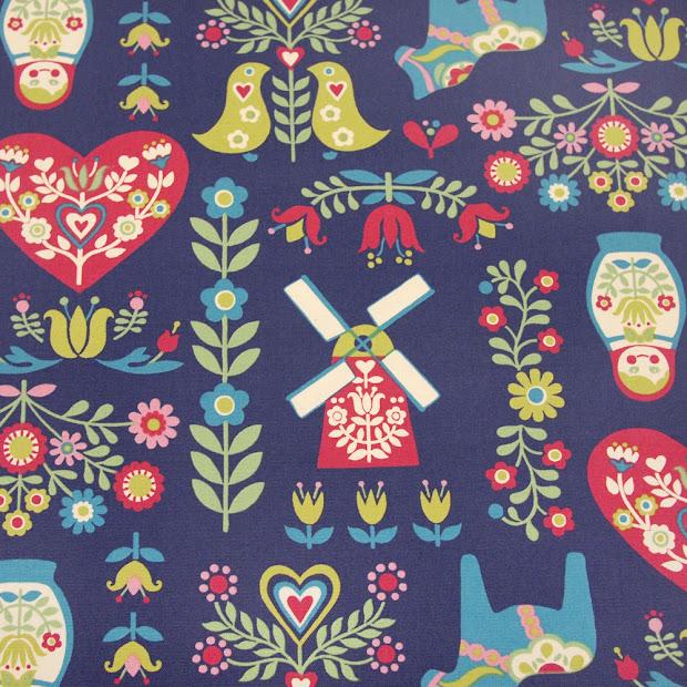 Scandinavian Folk Art Fabric