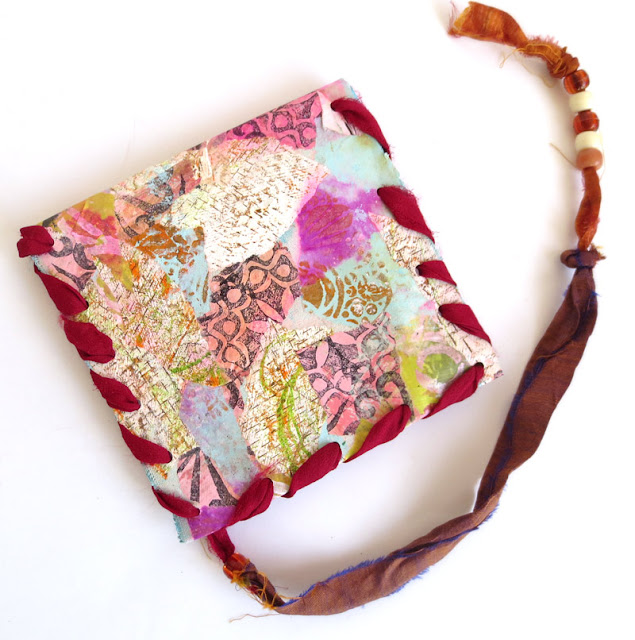 collaged fabric pouch