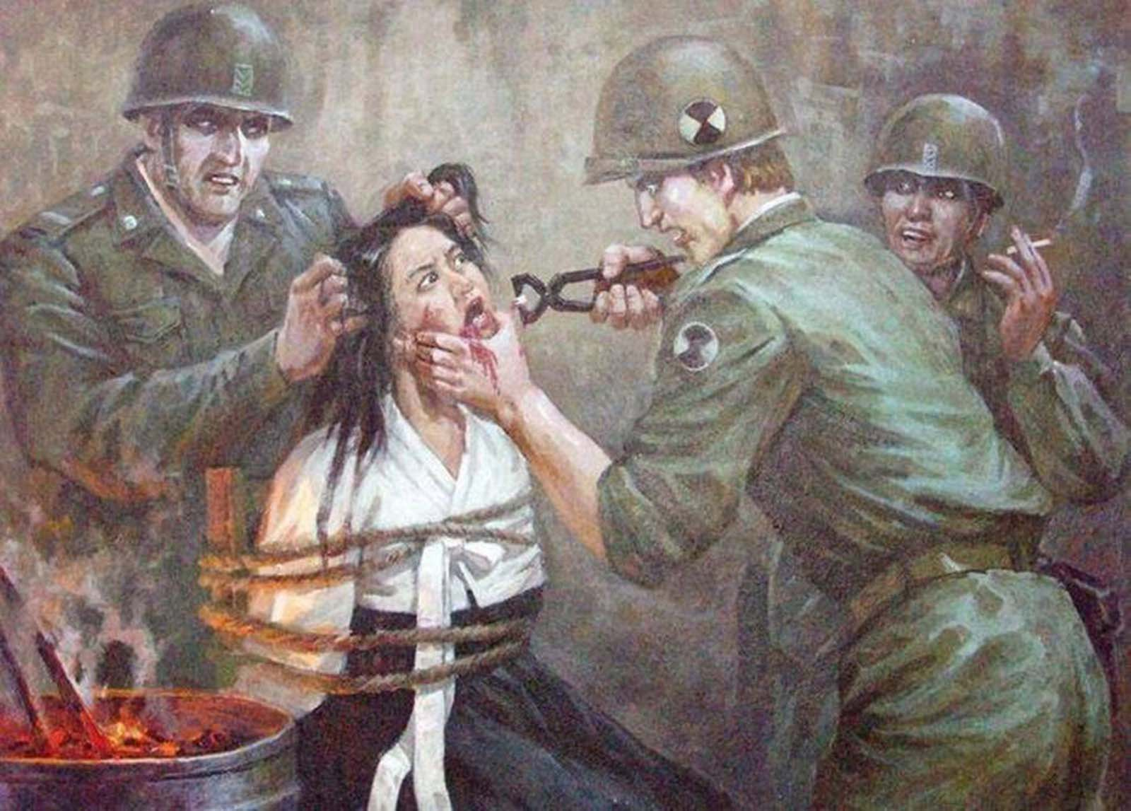 One soldier yanks the teeth from a Korean woman.