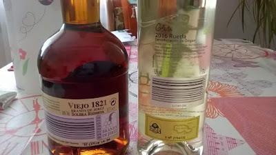 detrás, brandy viejo 1821, vino Corbata, verdejo, Rueda