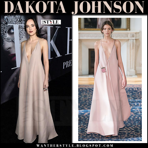 Dakota Johnson in blush silk maxi dress valentino at Fifty Shades Darker premiere what she wore