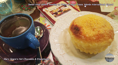 Ensaymada and hot chocolate in Mary Grace Cafe