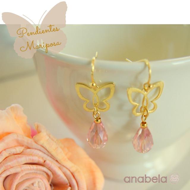 pendientes de cristal facetado rosa y mariposa dorada
