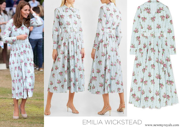 Kate Middleton wore Emilia Wickstead Aurora belted floral print Swiss dot cotton blend seersucker dress