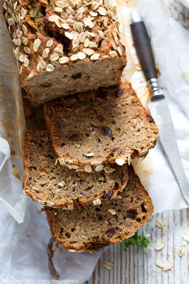 chlebek cukiniowo-owsiany bez cukru słodzony daktylami i miodem