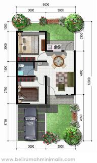 Contoh denah rumah minimalis 2 kamar tidur