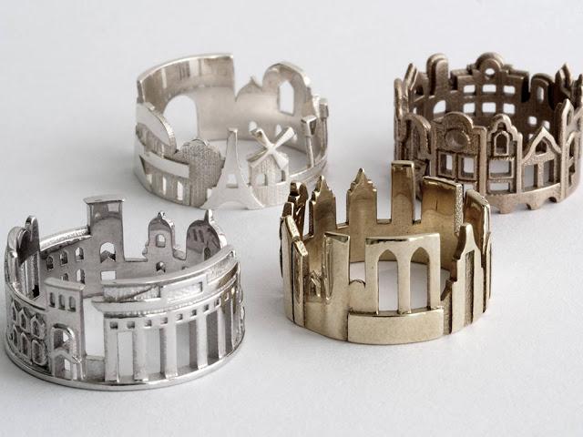 şehir silüetinden yüzük tasarımları