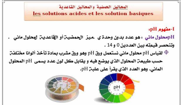 الثالثة إعدادي دروس الكيمياء:درس المحاليل الحمضية والمحاليل القاعدية Cours 3e - Les solutions acides et basiques