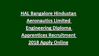 HAL Bangalore Hindustan Aeronautics Limited Engineering Diploma Apprentices Recruitment 2018 Apply Online