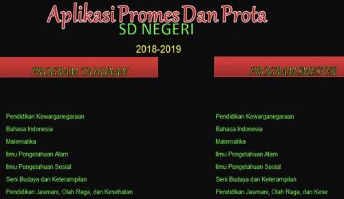 Aplikasi Promes Dan Prota SD/MI Kurikulum 2013 Tahun 2018/2019