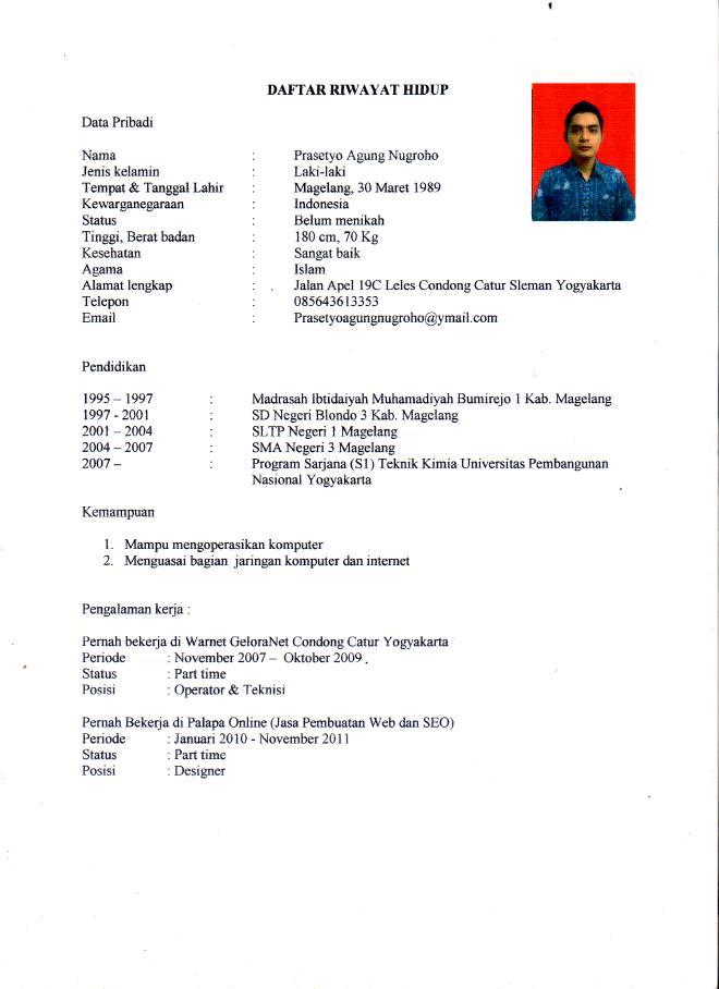 Curriculum Vitae Sample Bahasa Indonesia Evoo Tk