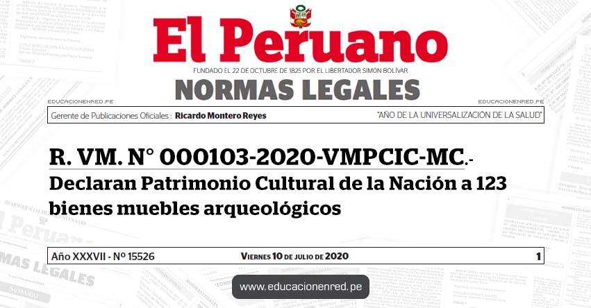 R. VM. N° 000103-2020-VMPCIC-MC.- Declaran Patrimonio Cultural de la Nación a 123 bienes muebles arqueológicos