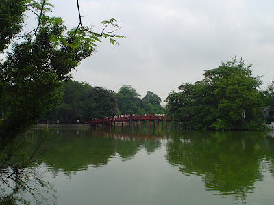 Red Bridge Lake Hanoi in Vietnam