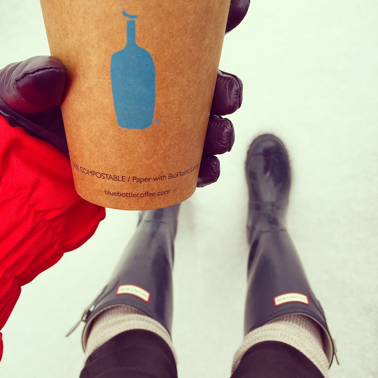 blue bottle coffee, nyc, hunter boots, hunter boots socks, snow day, fashion blog