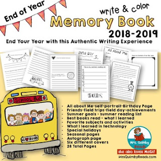 writing prompts for end of year, memory book, teaching resource