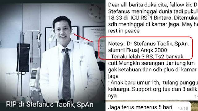 Bikin Sedih !! Gantikan Senior Cuti Lebaran, Dokter Muda ini Meregang Nyawa Setelah 5 Hari Berturut-Turut Jaga di 3 RS !!