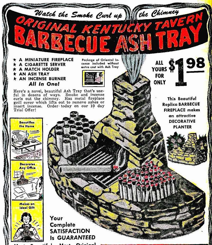 barbeque cigarette ash tray 1950 advertisement