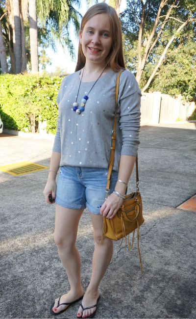 Jeanswest Kara foil pullover in smoke marl and silver polka dots with boyfriend denim distressed shorts   awayfromblue