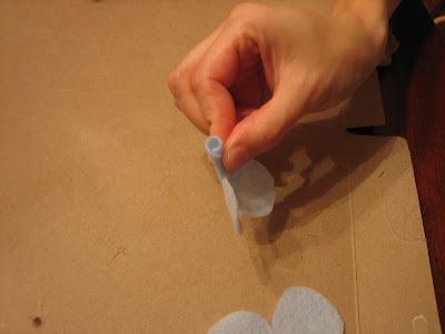 glue felt rosettes