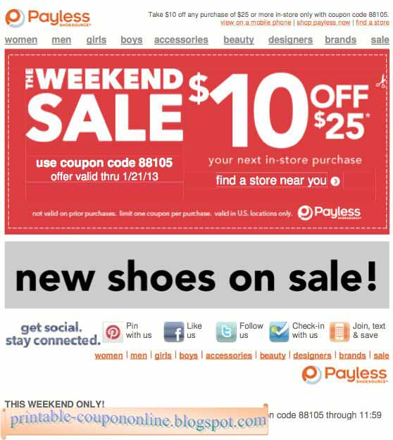 Payless shoes discount coupon