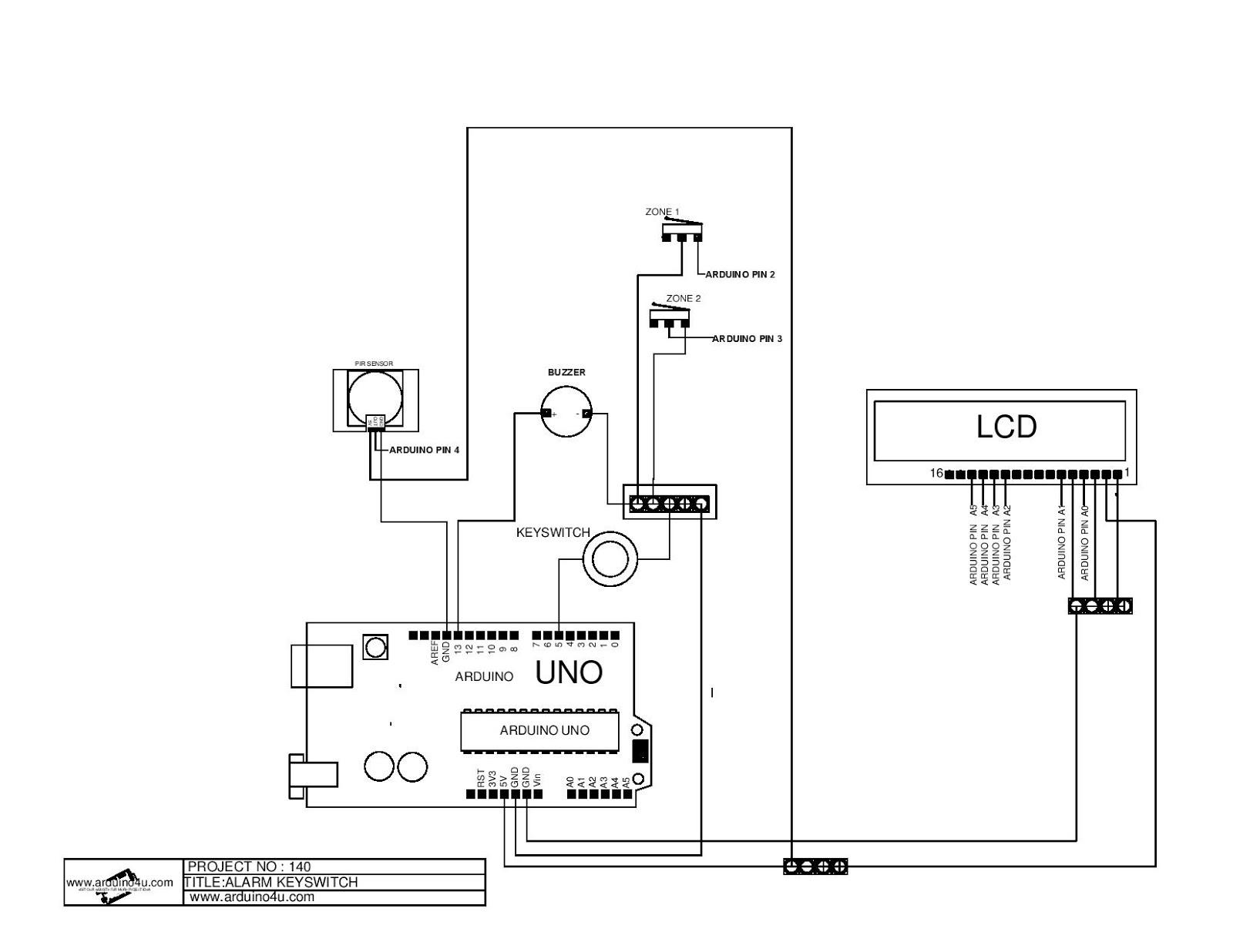Projek Elektronik Arduino4u.com: 140-Keyswitch Alarm System