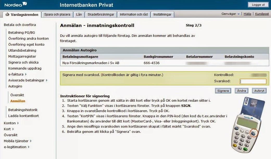 Nordea Account Deposit Screen
