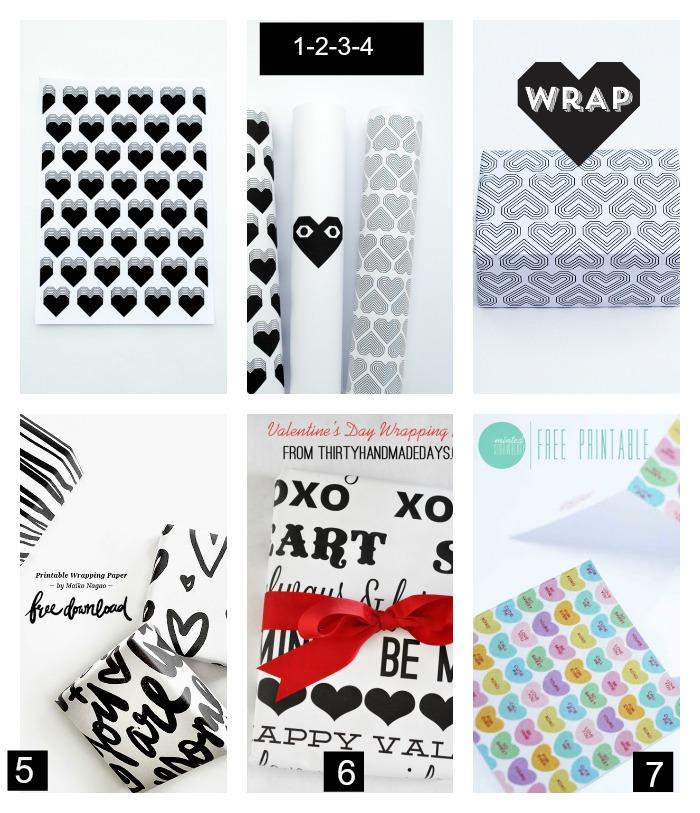 Papeles de regalo imprimibles san Valentín